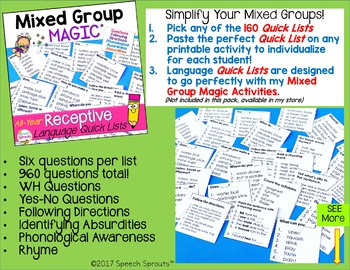 Receptive Language All-Year Quick Lists for Speech Therapy Mixed Groups