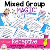 Receptive Language All-Year Quick Lists for Speech Therapy