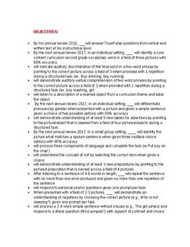 Receptive Language Goals & Objectives