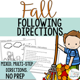 Fall Themed Following Directions Coloring Pack- No Prep