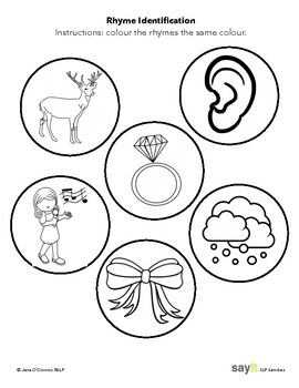 Receptive Rhyme - Colour the Rhyming Pair - Phonological Awareness