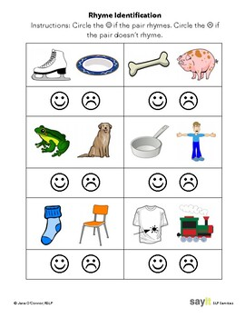Receptive Rhyme - Do they Rhyme? Yes/No? - Phonological Awareness