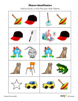 Receptive Rhyme - Find the Rhyming Pair - Phonological Awareness