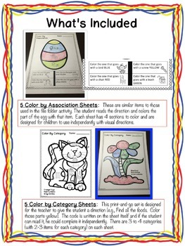 Receptive Vocabulary Activities for Spring: Feature Function Class (Special Ed)