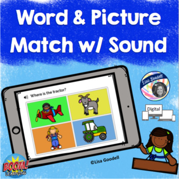 Receptive Word Picture Match with Sound - Digital Task Cards