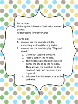 Receptive and Expressive Inference Cards
