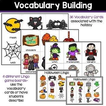 Receptive & Expressive Language Builder: Halloween Edition