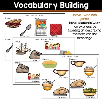 Receptive & Expressive Language Builder: Thanksgiving Edition