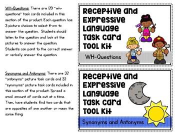 Receptive and Expressive Language Task Card Tool Kit