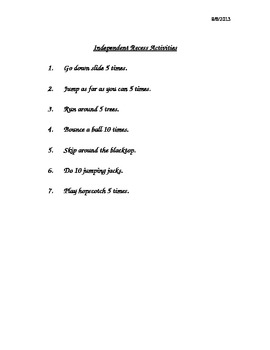 Recess Activities Checklist