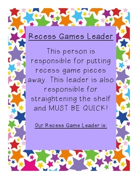 Recess Game Leader Description Sign