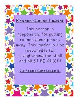 Recess Game Leader Description Sign