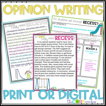 Recess • Print or Digital Paired Text Passages & Writing | for Distance Learning