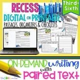 Recess • Print or Digital Paired Text Passages & Writing |