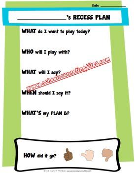 Recess Planning Sheets