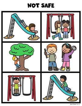 Recess Playground Safety Sorting Cards for Kindergarten & First Grade