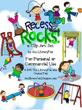 Recess Rocks Playground Clip Art Set with Blacklines