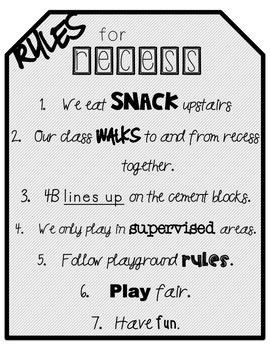 Recess Rules (Editable)