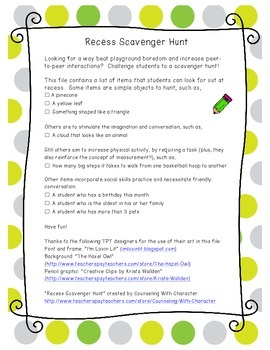 Recess Scavenger Hunt: Using Play to Boost Social Skills and Physical Activity