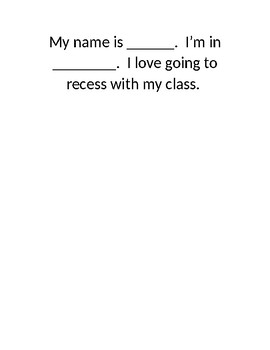 Recess Social Story--Editable