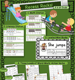 Recess Verbs: Reading, Handwriting, Word Work & Math aligned. Differentiated