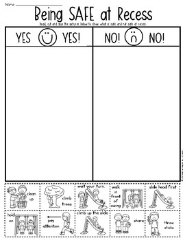 Recess and Playground Safety Sort Page for Kindergarten & First Grade
