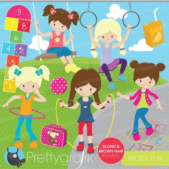 Recess fun kids clipart commercial use, vector graphics, digital - CL665