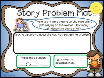 Recessed Themed Story Problem Mats (Addition and Subtraction-Numbers 1-10)