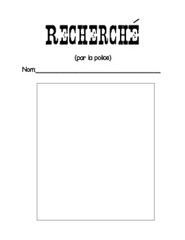 """""""Recherche par la police"""" French Back to School/Get to Know You Actvitiy"""