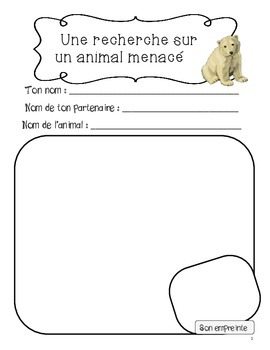 Recherche sur un animal menacé - Endangered animal research project in French