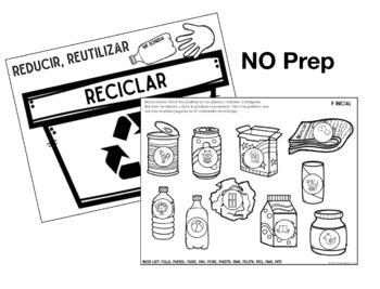 Reciclaje Articulación: A Speech Therapy Activity (Español)