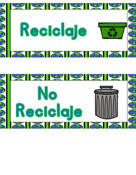 Reciclaje o No Reciclaje:  Spanish Recycling or Trash Sort It Out Activity
