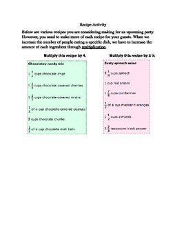 Recipe Activity - Multiplying Fractions