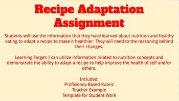 Recipe Adaptation Assignment