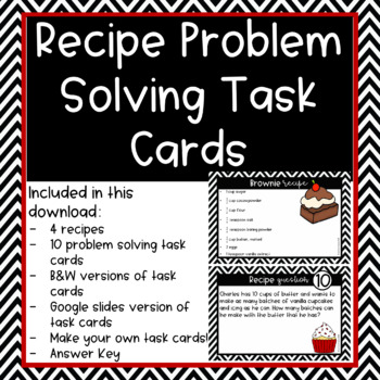 Recipe Adding and Subtracting Fraction Task Cards