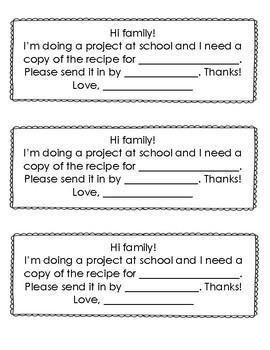 Parent Gift- Class Recipe Book