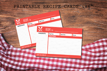 Recipe Card Printable Instant Download PDF JPEG Polka Dot