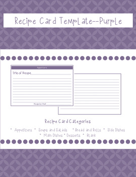 Recipe Card Template Purple By The Family And Consumer Science Classroom