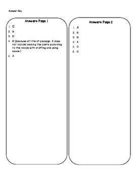Recipe Card reading comprehension and math passage