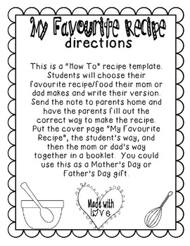 Recipe Cards {How to Writing Template} *spelled with favourite*