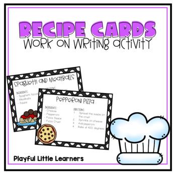 Recipe Cards - Work on Writing