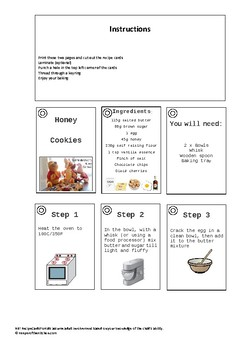 Recipe Cards for Winnie The Pooh's Honey Cookies