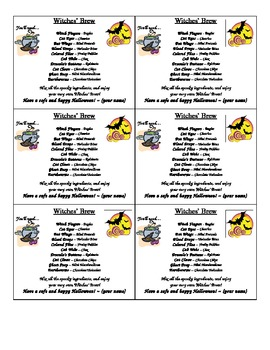 Recipe Cards for Witches' Brew
