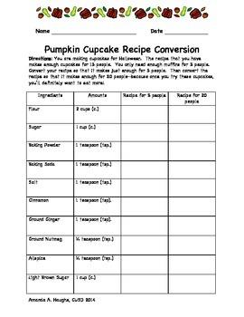Recipe Conversion & Fractions-- Pumpkin Cupcakes