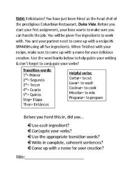 Recipe Creation: Comida / AR Verbs