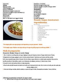 Recipe Food Project and Rubric and Reading Comprehension