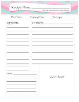 Food Recipe Worksheet