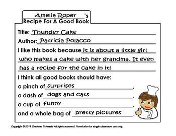 Recipe For A Good Book Book Report