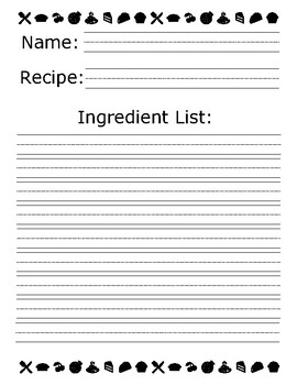 Recipe Fun!  Good for units related to family traditions or holidays!
