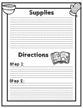 Recipe Handwriting Sheets